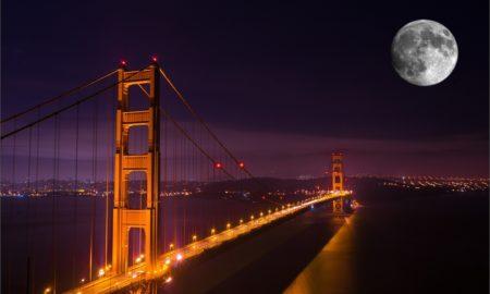 Moon Over Golden Gate Bridge
